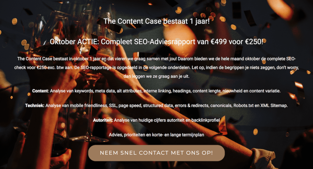 The Content Case jubileum SEO adviesrapport