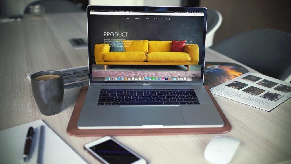 Webshop product op macbook
