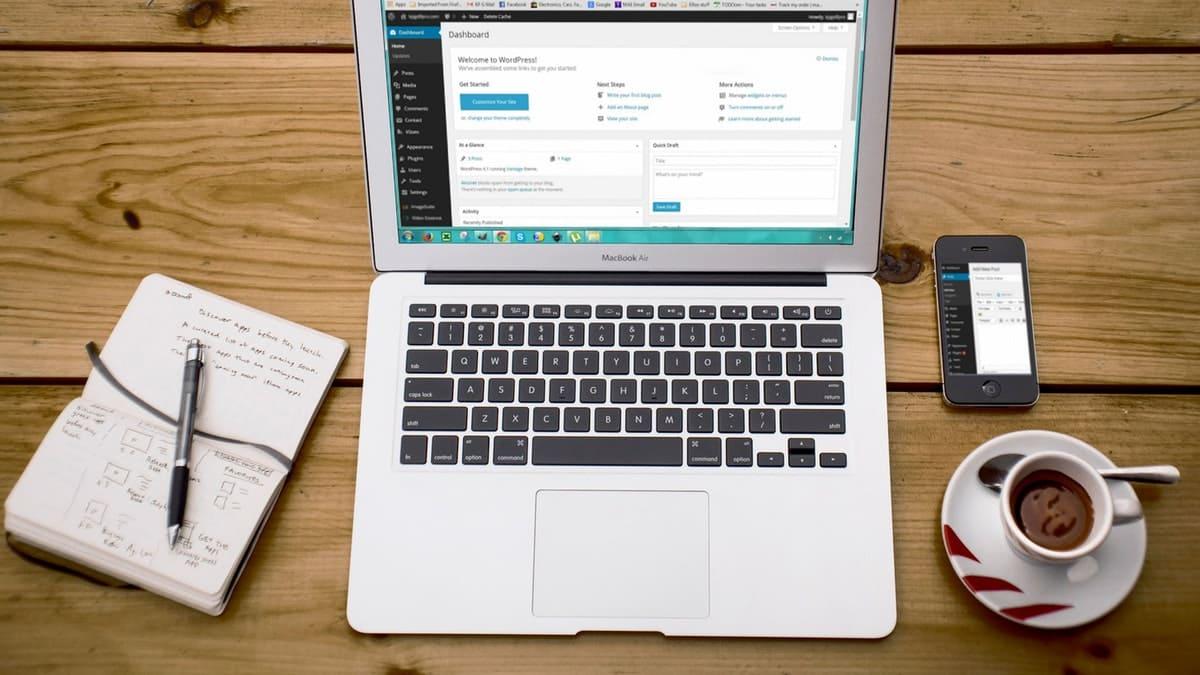 wordpress op laptop